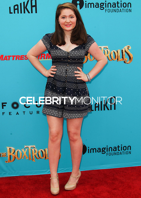 UNIVERSAL CITY, CA, USA - SEPTEMBER 21: Emma Kenney arrives at the Los Angeles Premiere Of Focus Features' 'The Boxtrolls' held at Universal CityWalk on September 21, 2014 in Universal City, California, United States. (Photo by Celebrity Monitor)
