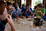 From left: Zachary Goldstein, 15, Christopher Jung, 14, Rural Connections scholar SajHeed McNair, 14, Kevin Donohue, 13, and Michael Sangimino, 13, laugh during dinner at the Marquis Dining Hall at the Center for Talented Youth summer program at Lafayette College in Easton, PA on July 06, 2012. Several students were part of the Rural Connections scholarship program being offered for the first time this year.