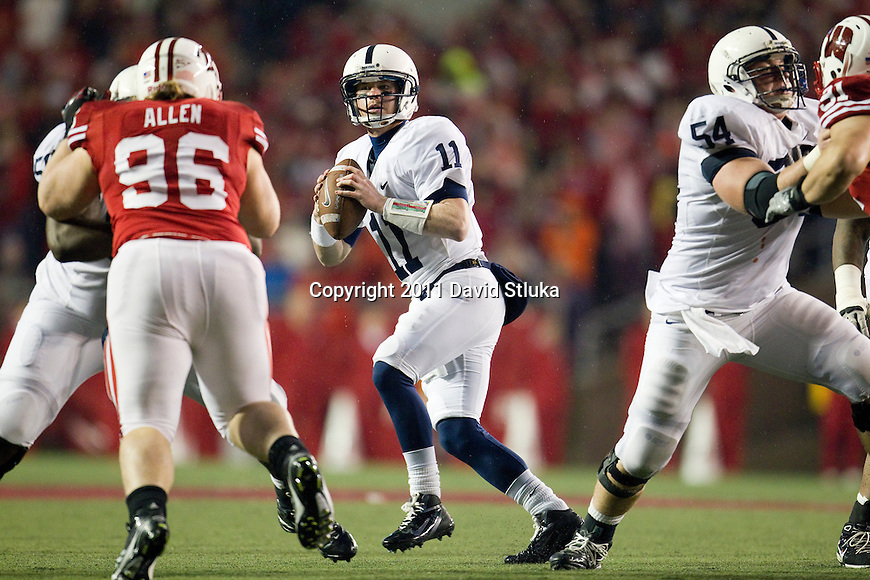 Penn State Nittany Lions quarterback Matthew McGloin (11) drops back to pass during an NCAA Big Ten Conference college football game against the Penn State Nittany Lions on November 26, 2011 in Madison, Wisconsin. The Badgers won 45-7. (Photo by David Stluka)