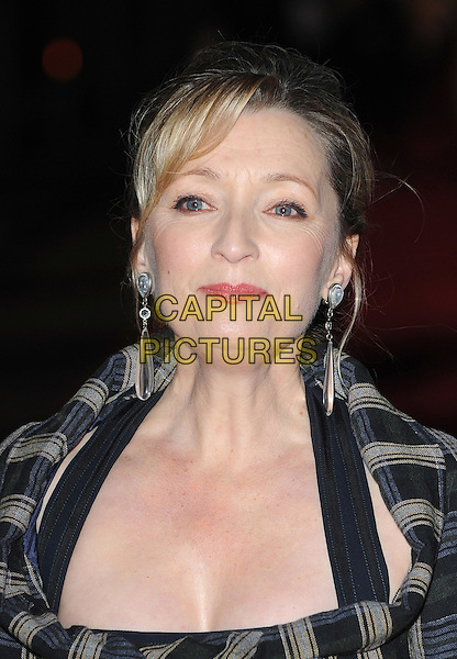 LESLEY MANVILLE.The 54th BFI London Film Festival Momentum Pictures - Centrepiece Gala of 'Another Year', Odeon Leicester Square, London, England..18th October 2010.headshot portrait grey gray blue check tartan plaid dangling silver earrings .CAP/BEL.©Tom Belcher/Capital Pictures.