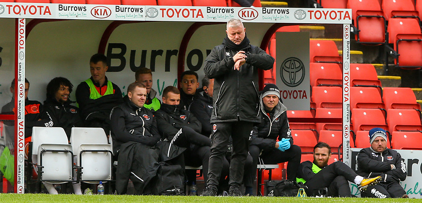 Blackpool's manager Terry McPhillips checks his watch<br /> <br /> Photographer Alex Dodd/CameraSport<br /> <br /> The EFL Sky Bet League One - Barnsley v Blackpool - Saturday 27th April 2019 - Oakwell - Barnsley<br /> <br /> World Copyright © 2019 CameraSport. All rights reserved. 43 Linden Ave. Countesthorpe. Leicester. England. LE8 5PG - Tel: +44 (0) 116 277 4147 - admin@camerasport.com - www.camerasport.com