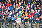 Crokes midfielder Ambrose O'Donovan destroys David Kennedy Loughmore/Castleiney in this midfield battle during the Munster Club championships in Killarney on Saturday