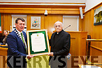 Cllr: John Sheahan (Cathaoirleach Kerry Co Council) presenting Fr Pat Ahern at the Civic Award for his outstanding contribution to the artistic, cultural and literary tradition of the county at the Kerry County Council chambers on Monday afternoon last.