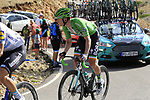 Green Jersey Sam Bennett (IRL) Bora-Hansgrohe in the grupetto on the final Cat 1 climb up to Observatorio Astrofisico de Javalambre during Stage 5 of La Vuelta 2019 running 170.7km from L'Eliana to Observatorio Astrofisico de Javalambre, Spain. 28th August 2019.<br /> Picture: Eoin Clarke | Cyclefile<br /> <br /> All photos usage must carry mandatory copyright credit (© Cyclefile | Eoin Clarke)