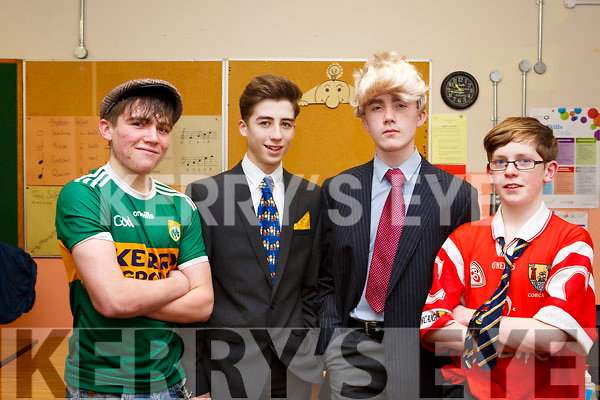 Darragh Kelly (Castleisland), Shane Og McGaley (Castleisland), Adam Kelly and Darragh Buckley (Abbeyfeale) back stage before the start of the  Castleisland Presentation Schools Talent show last Thursday,