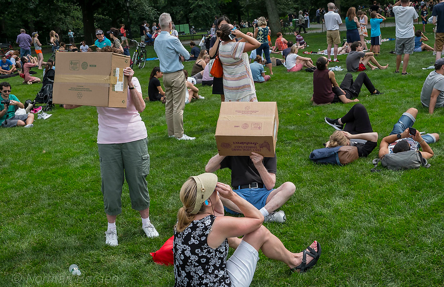Crowds Viewing August 2017 Eclipse in Central Park, NYC.