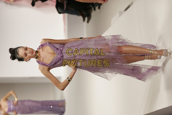 MODEL.Designer Eymeric Francois shows Haute Couture  Spring/Summer Collection 2005, Paris, .January 25th 2005..full length catwalk purple lilac halterneck dress.**UK SALES ONLY**.Ref: MDS.www.capitalpictures.com.sales@capitalpictures.com.©Stuart Grimwood/O.Medias/Capital Pictures .