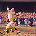 New Orleans Saints Tom Dempsey (19) during his game against the New York Giant on November 16, 1969 at Yankee Stadium in the Bronx, New York. The New Orleans Saints beat the New York Giants 25-24. Tom Dempsey  played for 11 season, with 5 different teams and was a 1-time Pro Bowler.(SportPics)