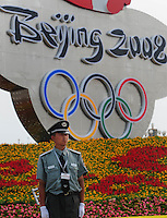 Aug. 6, 2008; Beijing, CHINA; A paramilitary policeman stands guard at Tiananmen Square in Beijing. The Olympics begin at 8pm on August 8, 2008. Mandatory Credit: Mark J. Rebilas-