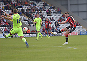 07/05/2016 Sky Bet League Two Morecambe v York City<br /> Aaron Wildig shot saved