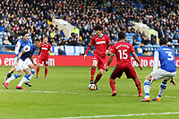 Ki Sung-Yueng of Swansea City (C) controls the ball outside the box during The Emirates FA Cup Fifth Round match between Sheffield Wednesday and Swansea City at Hillsborough, Sheffield, England, UK. Saturday 17 February 2018