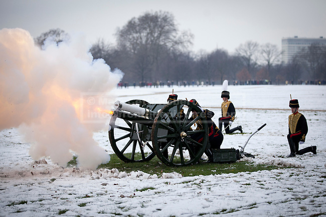 06/02/2012. LONDON, UK. A gun of the Kings Troop Royal Horse Artillery fires part of a 41 gun salute in Hyde Park. Gunners of the Kings Troop, based at St John's Wood since 1947, today (06/02/12) left their barracks for the last time to fire their guns in Hyde Park, the soldiers will move tomorrow to their new home in Woolwich. Photo credit: Matt Cetti-Roberts
