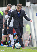 Wycombe Wanderers Manager Gareth Ainsworth controls the ball as it comes out of play during the Sky Bet League 2 match between Wycombe Wanderers and Hartlepool United at Adams Park, High Wycombe, England on 5 September 2015. Photo by Andy Rowland.