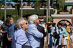 DEL MAR, CA  SEPTEMBER 1:  Trainers Bob Baffert and Jerry Hollendorfer watch the Spinaway Stakes in Saratoga, NY on September 1, 2018,  from the paddock at Del Mar Thoroughbred Club in Del Mar, CA.(Photo by Casey Phillips/Eclipse Sportswire/Getty ImagesGetty Images