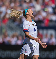 CHICAGO, IL - OCTOBER 6: Julie Ertz #8 of the United States yells during a game between Korea Republic and USWNT at Soldier Field on October 6, 2019 in Chicago, Illinois.