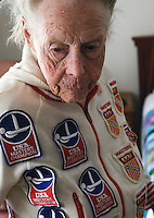 .Ninety-year-old synchronized swimmer Louise Wing at home, Danvers, MA