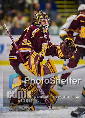 24 November 2012: University of Minnesota Golden Gopher goaltender Adam Wilcox, a Freshman from South St. Paul, MN, in second period action against the University of Vermont Catamounts at Gutterson Fieldhouse in Burlington, Vermont. The Gophers defeated the Catamounts 3-1 in the second game of their 2-game non-divisional weekend series. Mandatory Credit: Ed Wolfstein Photo