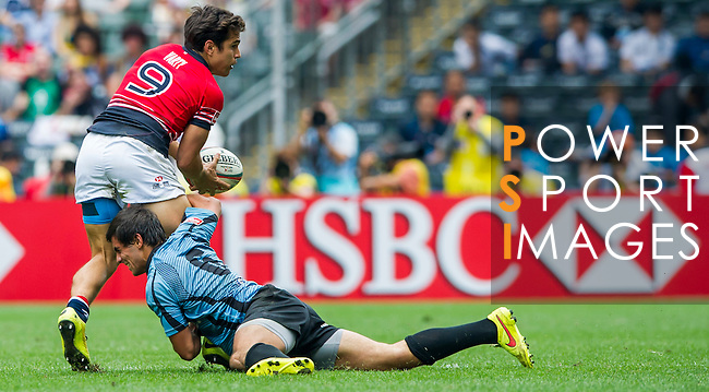 Hong Kong vs Uruguay during the HSBC Sevens Wold Series Qualifier match as part of the Cathay Pacific / HSBC Hong Kong Sevens at the Hong Kong Stadium on 28 March 2015 in Hong Kong, China. Photo by Juan Manuel Serrano / Power Sport Images