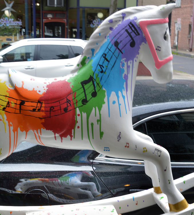 "A view of ""Splash of Music"" created by artist, Anastasia LaPeruta, one of the ""Rockin' Around Saugerties"" theme Statues on display throughout the Village of Saugerties, NY, on Sunday, June 4, 2017. Photo by Jim Peppler. Copyright/Jim Peppler-2017."