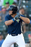 Designated hitter Tim Tebow (15) of the Columbia Fireflies bats in a game against the Lexington Legends on Thursday, June 8, 2017, at Spirit Communications Park in Columbia, South Carolina. Columbia won, 8-0. (Tom Priddy/Four Seam Images)