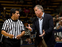 California head coach Mike Montgomery talks with the referee during the game against SFSU at Haas Paviliion in Berkeley, California on November 6th, 2012.  California defeated San Francisco State, 89-80.