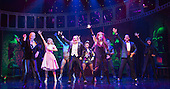 London, UK. 15 September 2015. Richard O'Brien, far left, joins the cast of his musical in the Time Warp dance on stage. The Rocky Horror Show, written and starring Richard O'Brien, returns to the West End for a limited run at the Playhouse theatre from 11 September 2015. The Rocky Horror Show Gala Performance on 17 September will be broadcast live to cinemas across the UK and Europe. With Richard O'Brien as Narrator, David Bedella as Frank'n'furter, Ben Forster as Brad, Haley Flaherty as Janet and Dominic Andersen as Rocky. Photo: Bettina Strenske