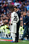 Manager Santiago Hernan Solari of Real Madrid speaks to Vinicius Junior of Real Madrid during the La Liga 2018-19 match between Real Madrid and Real Valladolid at Estadio Santiago Bernabeu on November 03 2018 in Madrid, Spain. Photo by Diego Souto / Power Sport Images