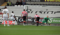 Pictured: Scott Sinclair of Swansea (2nd L) scoring from the penalty spot against George Long goalkeeper for Sheffield (R). Saturday 07 May 2011<br /> Re: Swansea City FC v Sheffield United, npower Championship at the Liberty Stadium, Swansea, south Wales.