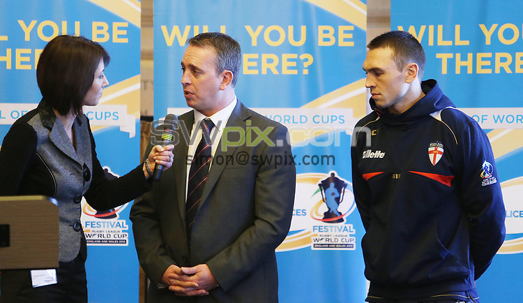 PICTURE BY VAUGHN RIDLEY/SWPIX.COM - Rugby League - World Cup 2013 - Festival of World Cups Launch - Leeds Civic Hall, Leeds, England - 12/02/13 - The RFL is hosting The Festival of World Cups this summer featuring separate competitions for Women, Wheelchair, Police, Student and Armed Forces.  Tanya Arnold, Steve McNamara and Kevin Sinfield.