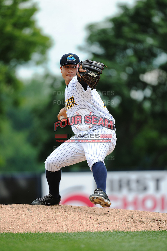 Trenton Thunder pitcher Manny Barreda (19) during game against the New Hampshire Fisher Cats at ARM & HAMMER Park on June 22, 2014 in Trenton, NJ.  New Hampshire defeated Trenton 7-2.  (Tomasso DeRosa/Four Seam Images)