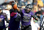 SIOUX FALLS, SD - OCTOBER 18: John Tidwell #26 from the University of Sioux Falls celebrates a fumble recovery against Southwest Minnesota State in the second half of their game Saturday afternoon at Bob Young Field in Sioux Falls. (Photo by Dave Eggen/Inertia)