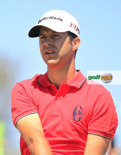 Jorge Campillo (ESP) on the 1st tee during Round 4 of the Open de Espana  in Club de Golf el Prat, Barcelona on Sunday 17th May 2015.<br /> Picture:  Thos Caffrey / www.golffile.ie