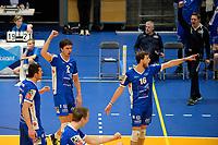 GRONINGEN - Volleybal, Abiant Lycurgus - Orion, Alfa College , Eredivisie , seizoen 2017-2018, 16-12-2017 vreugde bij Lycurgus met Lycurgus speler Wytze Kooistra en Lycurgus speler Carlos Mora Sabate