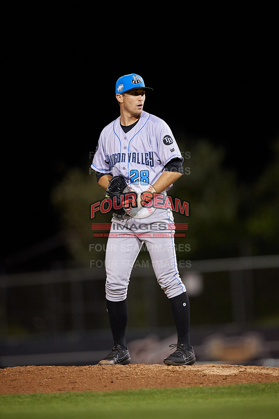 Hudson Valley Renegades relief pitcher Alan Strong (28) gets ready to deliver a pitch during a game against the Connecticut Tigers on August 20, 2018 at Dodd Stadium in Norwich, Connecticut.  Hudson Valley defeated Connecticut 3-1.  (Mike Janes/Four Seam Images)