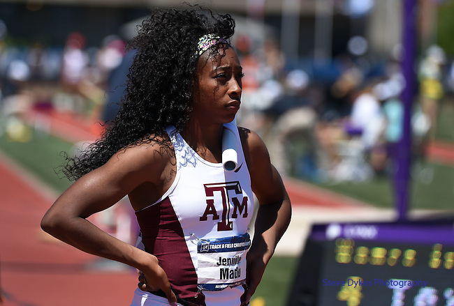 13 JUNE 2015: Jennifer Madu of Texas A&M waits for the start of the Women's 4X100 meter relay during the Division I Men's and Women's Outdoor Track & Field Championship held at Hayward Field in Eugene, OR. Steve Dykes/ NCAA Photos