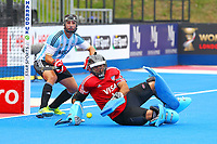 Argentine goalkeeperJjuan Vivaldi makes a save during the Hockey World League Semi-Final match between Argentina and Malaysia at the Olympic Park, London, England on 24 June 2017. Photo by Steve McCarthy.
