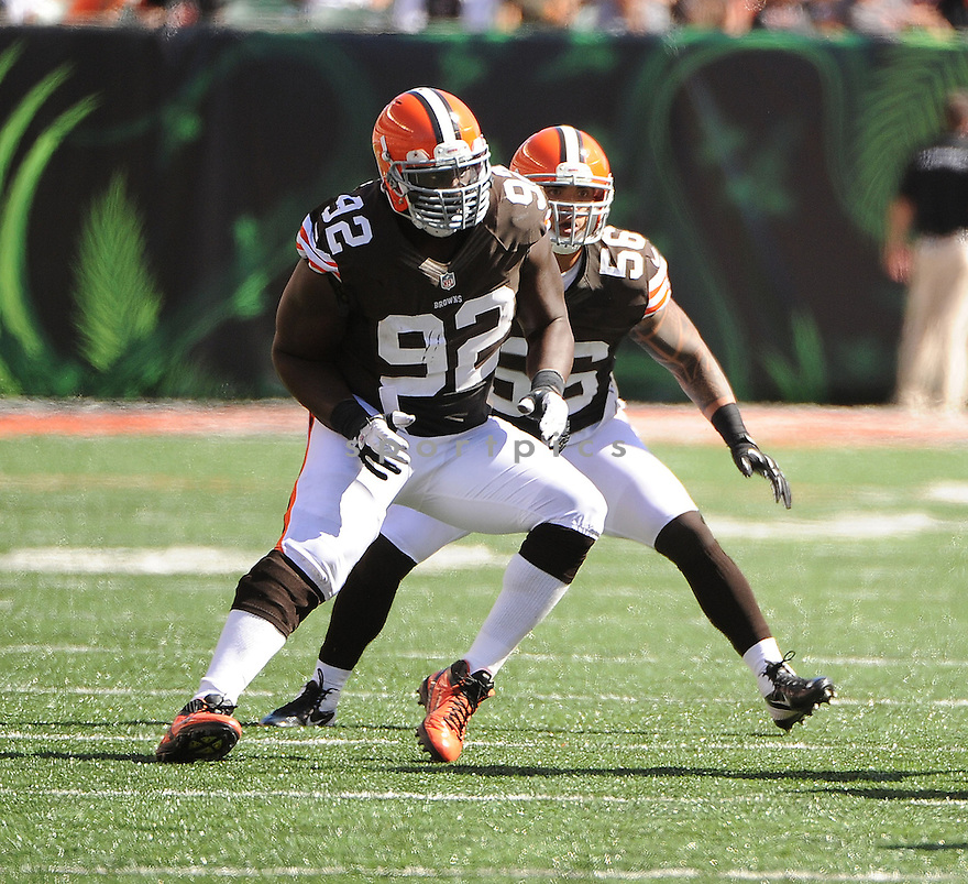 Cleveland Browns Frostee Rucker (92) in action during a game against the Cincinnati Bengals on September 16, 2012 at Paul Brown Stadium in Cincinnati, OH. The Bengals beat the Browns 34-27.