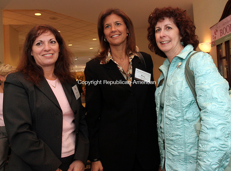 SOUTHBURY, CT-21September 2006-092106TK05- (left to right) Attending the 24th Annual Business Women's Forum was Linda D'Aurio, Mary Champion and Ellen Durnin of Western Connecticut State University at Waterbury.  Tom Kabelka Republican-American, (Linda D'Aurio, Mary Champion and Ellen Durnin)