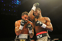 Isaac Chamberlain (silver/black shorts) defeats Luke Watkins during a Boxing Show at the Copper Box Arena on 27th October 2018