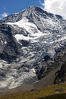 The Glacier de Tsijiore Nouve flows from the slopes of Pigne d'Arolla.