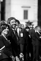 """Maria Elisabetta Alberti Casellati (President of the Senate), Roberto Fico (President of the Chamber of Deputies) & Giuseppe Conte (Italian Prime Minister).<br /> <br /> Rome, 02/06/2019. Today, Italy celebrated the annual """"Festa Della Repubblica"""" (Republic Day, 1.). The 73rd Anniversary of the Italian Republic (*) was marked with the """"Raising the Flag Ceremony"""" and the tribute to the Sacello del Milite Ignoto (Unknown Soldier) at the Altare della Patria """"Vittoriano"""" (2.) by the President of the Italian Republic Sergio Mattarella, followed by the traditional army, veterans and civilians parade along Via Dei Fori Imperiali. This year, the President of the Republic was accompanied by the Defence Minister Elisabetta Trenta, the Italian Prime Minister Giuseppe Conte, the Presidents of the two Chambers of the Parliament, Roberto Fico and Maria Elisabetta Alberti Casellati, several members of the Italian Government, political leaders, senior officers of the Armed Forces and representatives of the Civilian Organizations. At the end of the events the Frecce Tricolori, the Italian Aerobatic Team, coloured the sky over Rome with the Tricolore (Tricolour: Green, White, Red) of the Italian Flag. The theme for this year's event was inclusiveness. <br /> <br /> Footnotes and Links:<br /> (*) The Referendum was held on 2 June 1946 and it marked the decision made by the Italian people to adopt the Republic as the new institutional form for the Country. <br /> 1. http://bit.do/eT8By (ITA) & http://bit.do/eT8Bv (ENG) at https://www.difesa.it/<br /> 2. http://bit.do/eT8BG (Wikipedia)"""