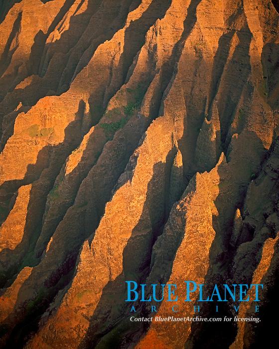 aerial photo of spectacular cliffs of the Na Pali Coast Kauai, Hawaii, Pacific Ocean