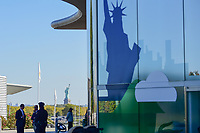 The Statue of Liberty as see from the Liberty National Golf Clubhouse during round 4 Singles of the 2017 President's Cup, Liberty National Golf Club, Jersey City, New Jersey, USA. 10/1/2017. <br /> Picture: Golffile | Ken Murray<br /> <br /> All photo usage must carry mandatory copyright credit (&copy; Golffile | Ken Murray)