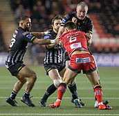 22nd March 2018, Select Security Stadium, Widnes, England; Betfred Super League rugby, Widness Vikings versus Salford Red Devils; Chris Houston makes the  tackle on Niall Evalds