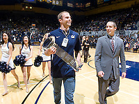 California football player Bryan Anger receives CFPA Elite Punter Trophy during halftime at Haas Pavilion in Berkeley, California on December 7th, 2011.   California defeated San Jose State, 81-62.