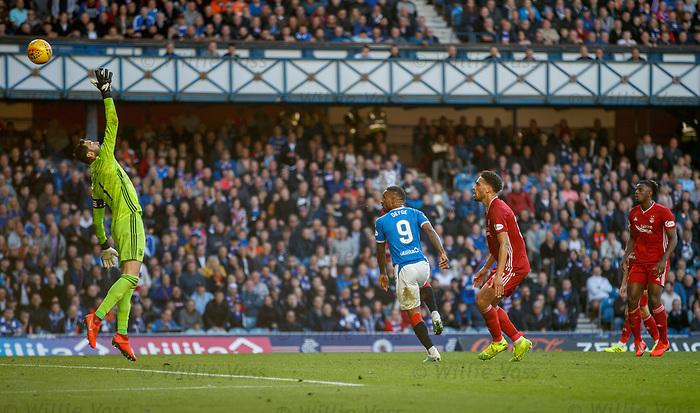 28.09.2018 Rangers v Aberdeen: Jermain Defoe lobs leeper Joe Lewis for Rangers fifth goal