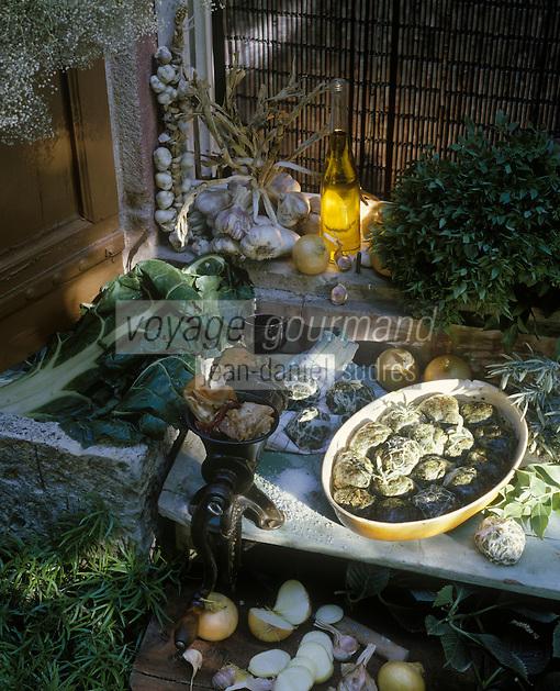 """Europe/France/Provence-Alpes-Côtes d'Azur/84/Vaucluse/Sablet : Les caillettes de Janine Prayal du restaurant """"Table d'hôtes"""""""