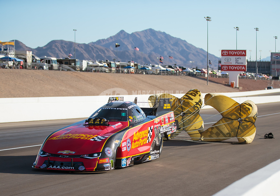 Oct 27, 2018; Las Vegas, NV, USA; NHRA funny car driver Courtney Force during qualifying for the Toyota Nationals at The Strip at Las Vegas Motor Speedway. Mandatory Credit: Mark J. Rebilas-USA TODAY Sports