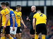 2nd February 2019, Goodison Park, Liverpool, England; EPL Premier League Football, Everton versus Wolverhampton Wanderers; Referee Lee Mason has words with Conor Coady of Wolverhampton Wanderers