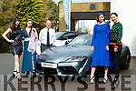 Claudia Murphy, Tamara Goggin, Sophie Thompson, Aishling O'Connell models who took part in the New Collections Luncheon & Show at Aghadoe Heights Hotel & Spa, Killarney, on Sunday last pictured with Sponsor Tim Kelliher, Kellihers Garage Tralee and the Toyota Supra.